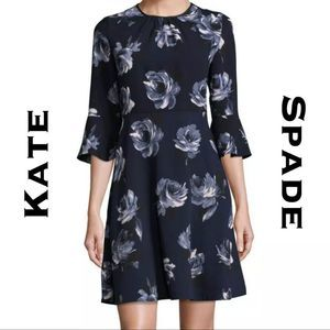 Kate Spade Night Rose Crepe Dress Size 2 NWT